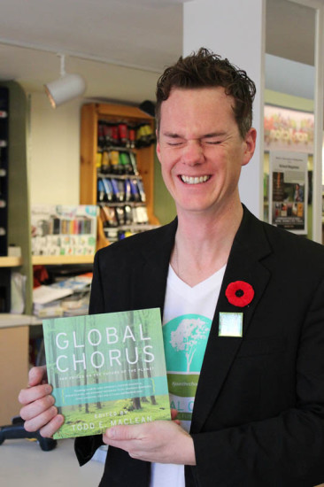 Todd holding the book for the first time at The Bookmark, Charlottetown, PEI, Nov, 2014