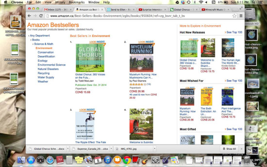 Screen Shot of Global Chorus' weeks at #1 in Environment on Amazon.ca, Fall, 2014