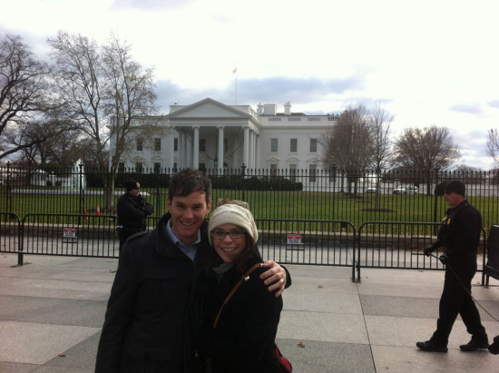 Todd and Savannah at White House prior to Global Chorus event at U.S. Green Building Council, Washington, D.C., Dec, 2014